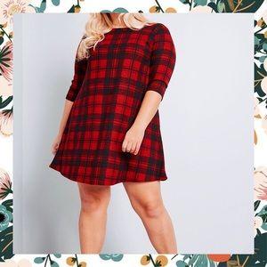 ModCloth Cozy Red Plaid Sweater Dress